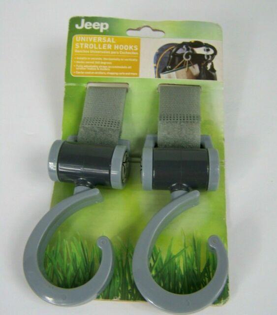 Grey NEW Jeep Universal Stroller Hooks 360 Degree Swiveling Hooks