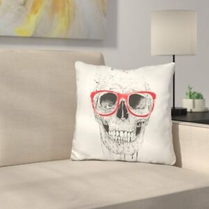East Urban Home Skull with Glasses Throw Pillow EUNM1336