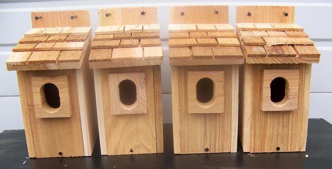 4 azulbird casas del pájaro Nido de caja sacudir techo con abertura oval Peterson libre S H