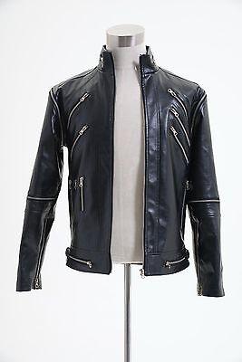 "Michael Jackson /""Beat It/"" Black Pleather Jacket Coat Cosplay Costume"