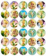 30 x TINKERBELL DISNEY DECORAZIONI per cupcake wafer commestibile carta FATA DECORAZIONI PER TORTA
