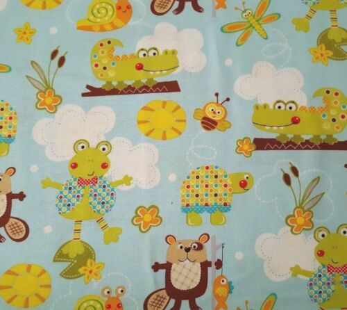 Polka Dot Pond BTY Lollipop Rainbow Marcus Brothers Turtle Beaver Dragonfly Blue