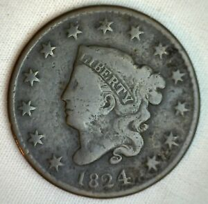 1824-Coronet-Large-Cent-US-Copper-Type-Coin-Very-Good-VG-M3-Copper-Penny
