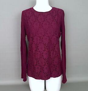 TALBOTS-Size-Medium-Eggplant-Purple-Cotton-Knit-Lace-Front-Top-Long-Sleeve-Shirt