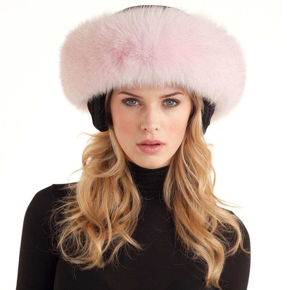 Woman's Premium Fox Fur Pink Ski Helmet Acces, Shawl, Scarf, Ear Warmer Headband