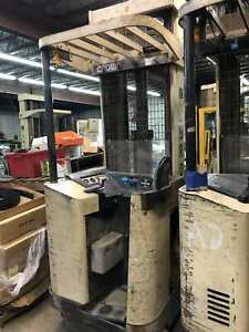 Used-Crown-45RRTT-S-Narrow-Aisle-36V-Electric-Stand-Up-Reach-Forklift-amp-Charger