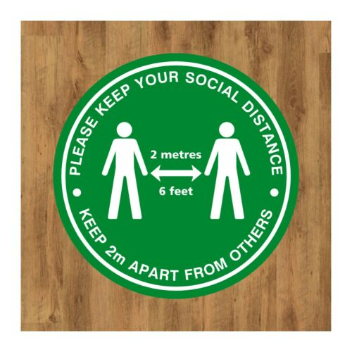 Decal Shop Supermarket School Social Distancing Anti Slip Floor Stickers Black