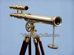 "Antiques Realistic Marine Nautical Navy Brass Double Barrel~telescope 18"" With Wooden Tripod Stand Maritime Telescopes"