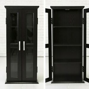 Image Is Loading Black Storage Cabinet 2 Glass Doors Modern Elegant