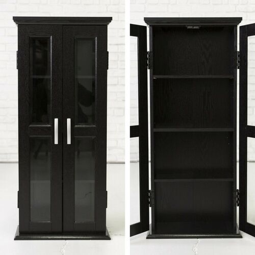 Black Storage Cabinet 2 Glass Doors Modern Elegant Wood DVD Games Media  Tower | eBay