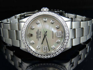 Mens-Stainless-Steel-Rolex-Air-King-Oyster-34MM-MOP-Dial-Diamond-Watch-2-5-Ct