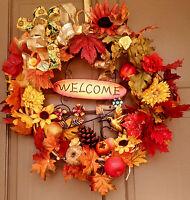 Handmade Everyday All Season Vine Wreath Fall Leaves Autumn Floral Door Decor