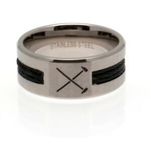 West-Ham-United-F-C-Black-Inlay-Ring-HM-in-3-Sizes-Official-Merchandise