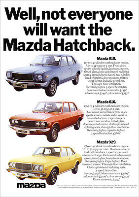 MAZDA 818 616 929 SALOON CAR RANGE RETRO A3 POSTER PRINT FROM 70'S ADVERT