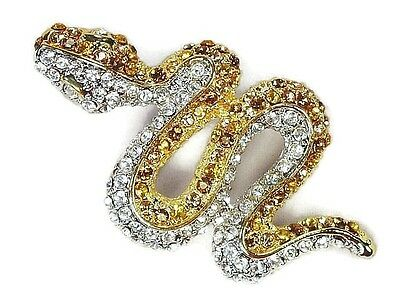 Snake Brooch Pin Paved with Topaz Amber Clear Crystals