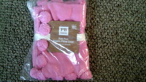 Pottery-Barn-Teen-Pom-Pom-Organic-Pillow-Cover-Pink-NWT-No-Mono