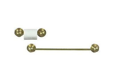 Dollhouse Miniature Towel and Toilet Paper Roll Bar in Gold ~ IM65650