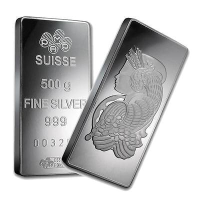 3012. One piece 500 gram 0.999 Fine Silver Bar PAMP Suisse Fortuna Lot 3012