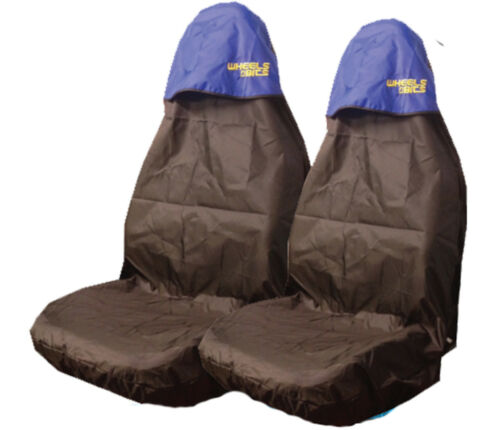 2 Two Waterproof Heavy Duty Front Car Van SUV Seat Covers Protectors Blue top