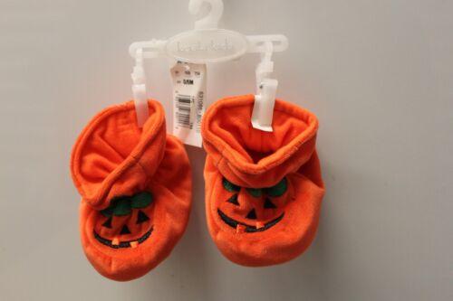 HALLOWEEN BABY BOOTIES Soft Shoes 0-6M 6-12M Orange Pumpkin Costume Infant NEW