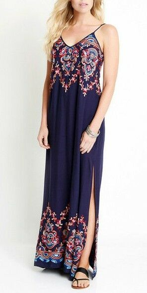 39a31894eda Karen Kane Sea Glass Embroidered Maxi Dress Navy Combo XLarge