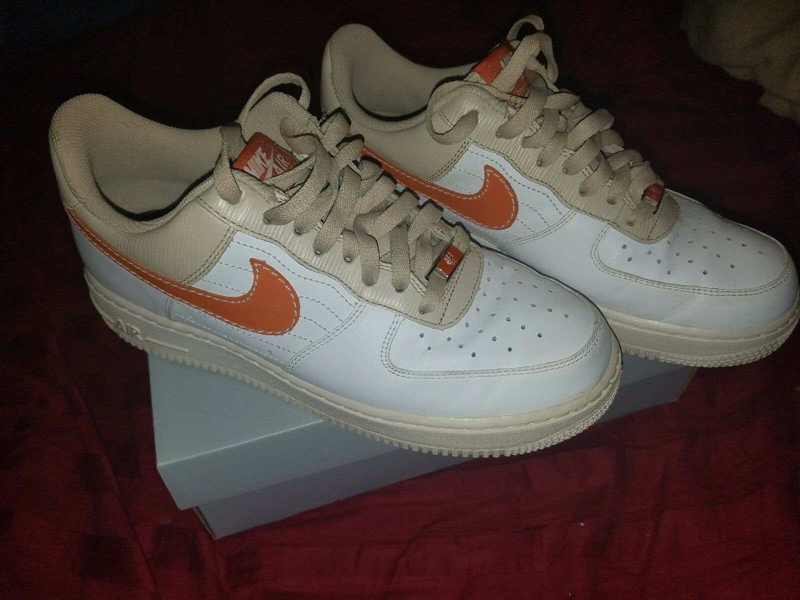 NIKE AIR FORCE 1 '07 LOW MEN'S SNEAKERS WHITE ORANGE TAN 315122-111 SHOES W BOX