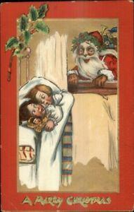 Christmas-TUCK-Santa-Claus-amp-Sleeping-Children-501-c1910-Postcard
