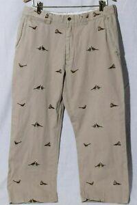 Polo Ralph Lauren Para Hombres Pantalones De Color Caqui Bordado Caza Faisan Talla 34 36 Ebay