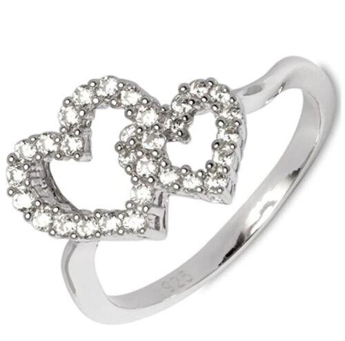 Gooix anillo plata 925 señora doble corazón Love circonita GR 56 Ø 17,8 nuevo 148