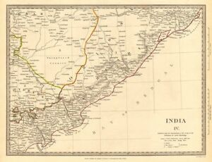 Orissa Cicars; Mouths Of The Godavery Berar; Hyderabad Sduk 1844 Map Moderate Cost The Best India