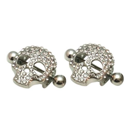 1X//1pair Skull Shaped Nipple Shield Nipple Ring Stainless Steel Piercing et