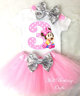 Minnie Mouse Light PInk Girl 3rd Third Birthday Tutu Outfit Set Shirt Party