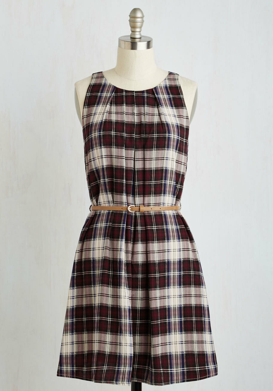 Pink Owl Red Plaid Sleeveless Belted A-Line Dress Plus Sized 1X 2X