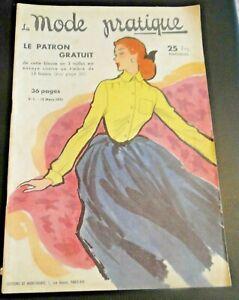 Magazine La MODE PRATIQUE  15 mars 1951 n°5