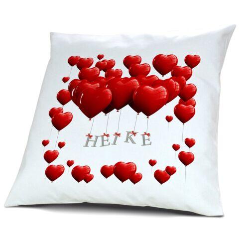 Motiv Herzballons Kopfkissen mit Namen Heike