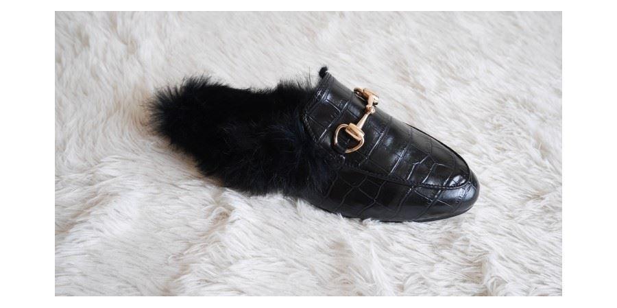 Princetown Gold Horsebit Detailed Faux Leder Slippers Loafer Slides