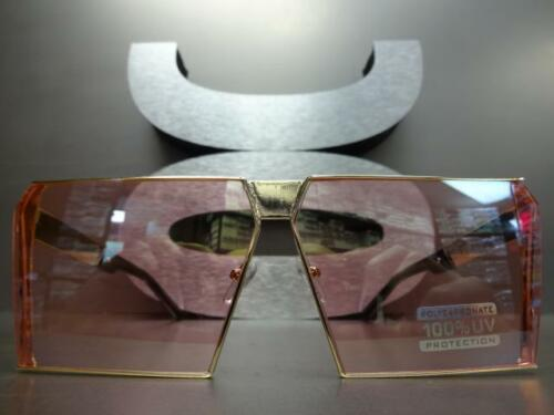 CLASSIC VINTAGE RETRO SHIELD Style SUN GLASSES Gold Metal Frame Pink Mirror Lens