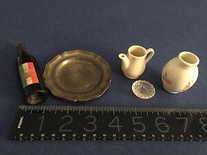 Vintage-German-Doll-Kitchen-porcelain-tea-pot-vase-pewter-plate-pressed-glass