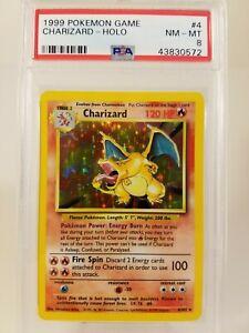 Charizard 4/102 PSA 8 Pokemon Card Rare Holo NM Base Set Unlimited