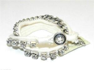 Image Is Loading Fossil Boyfriend Wrap Bracelet Silvertone White Cord Crystals