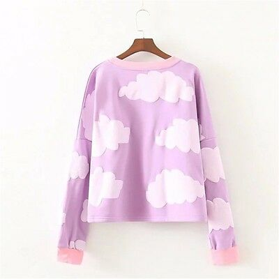 Lolita white Clouds Print Sweatshirts Girls Purple Spring Fall Blouse Kawaii