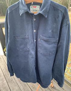 Vtg-Levis-Green-Tag-Label-Mens-XL-Blue-Denim-Shirt-Button-Down-Long-Sleeves