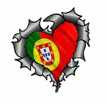 HEART Shape Carbon Fibre Fiber Ripped Metal Portugal Portuguese Flag car sticker