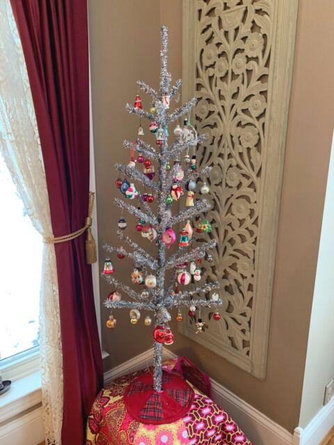 SILVER ALUMINUM TINSEL CHRISTMAS TREE 4 FOOT SUPER STURDY ...