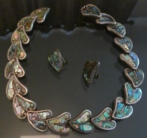 Lovely leaf shaped abalone in sterling setting. Bracelet and screw back earrings MEXICAN sterling Set