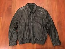 Bally Men's Dark Green 100% Leather Bomber Jacket SIZE 34 MADE IN ITALY