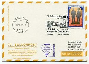 1987 Ballonpost N. 77 Pro Juventute Aerostato Oe-kzm Kurstadt Gmunden