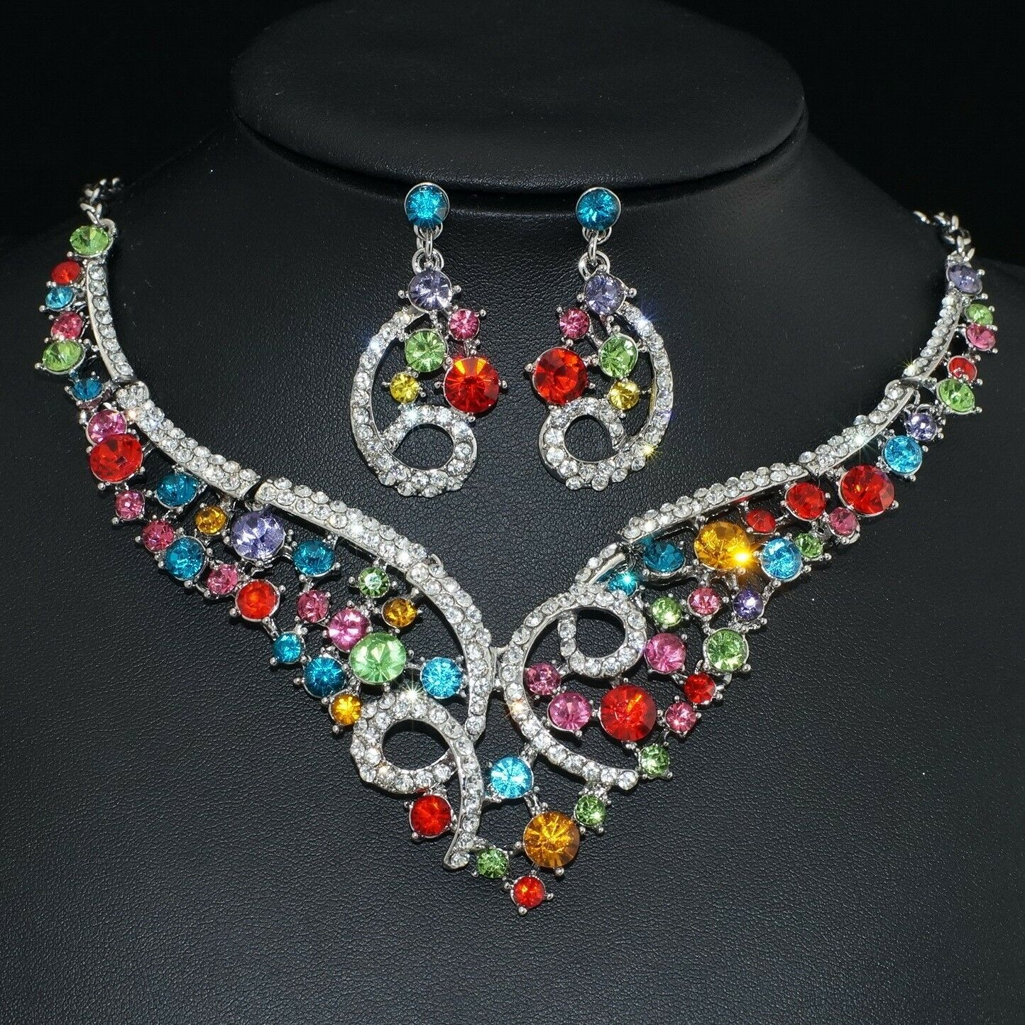 YT255 Multi-Colour Rhinestone Crystal Earrings Necklace Set Bridal Party Gift