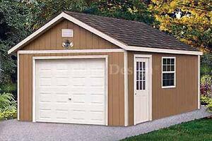 12 x 16 Garage Shed / Workshop Building Project Blueprints, Design #51216