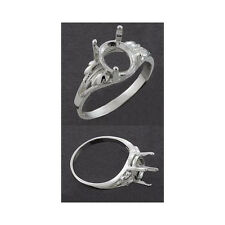 (8x6mm - 12x10mm) Sterling Silver Oval Leaf Ring Setting (Ring Sizes 5,6,7,8 )